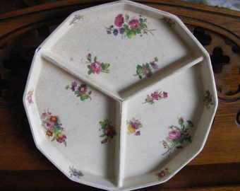 Chipped Vintage Divided Plate Purple Floral Design