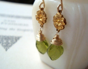 Brass Flower and Green Leaf Earrings Gold Flower Jewelry Vintage Style Art Nouveau Bridal Jewelry Nature Inspired Floral Earrings