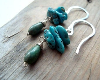 Turquoise Stack Earrings - Tropical Seas. Sterling Silver December Birthstone Beachy Jewelry  Gifts Under 40 Boho Bohemian Modern