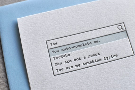 "Letterpress ""You auto-complete me."" Valentine's Day Love Greeting Card with Envelope etsy"