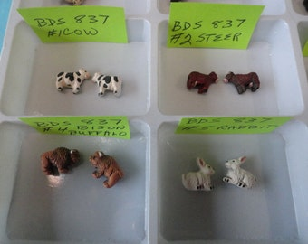 Choose your Beads, Cow, Horse, Buffalo  Tiny Detailed Animal Ceramic Beads 2 pcs. BDS 837