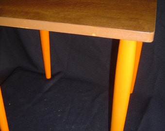 Vintage Mid Century Modern Laminate and Walnut Wood Square Accent Side Table