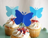 Butterfly Cupcake Toppers, Party Picks, Food Picks Shades of Blue