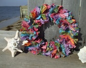 Summer Brights Small Rag Wreath Homespun Fabric  pink purple turquoise green yellow Spring Wreath