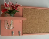 Pretty in Pink Wall Shelf Cork Bulletin Board Message  Center Hooks Cottage Country