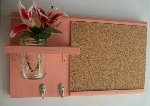 Pretty in pink wall shelf cork bulletin board message center for Pretty bulletin board