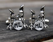 Personalized Drum Set Cufflinks - Cuff Links - Custom Cufflinks