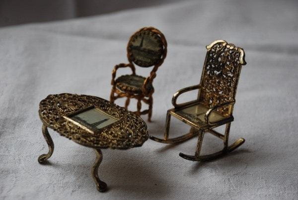 Vintage Miniature Filigree Metal Doll House Furniture Souvenir