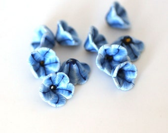 Blue Petunia Beads, Striped Flower Polymer Clay Beads, 10 pieces