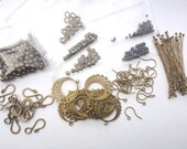 Antique Brass Findings Lot - 340 Pieces Crimps, Earwires, Headpins, Beads, Clasps,