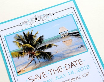 Tropical Beach Destination Wedding Save the Date - Belize Beach