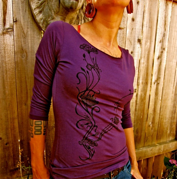 SALE! Women's Fantasy Flower Boatneck Purple Eggplant Sheer Jersey Cotton 3/4 Sleeve Tshirt Medium Only