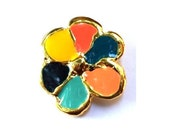 Vintage metal flower button free shape, assorted enamel colors, UNIQUE 36mm