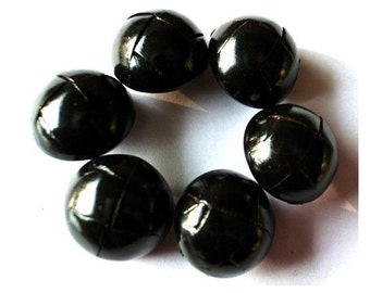 Leather buttons, 6 vintage black leather buttons, 23mm