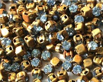 20 Antique vintage Swarovski cabochon blue crystal mounted in brass setting cut 1100