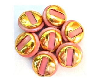 6 Vintage plastic buttons pink with gold color 20mm