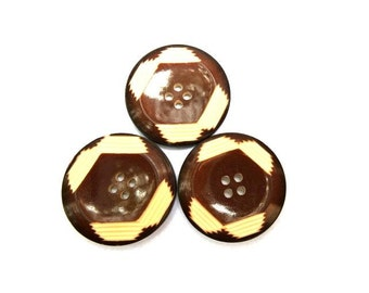 6 Vintage plastic buttons art DECO brown with white, 25mm, RARE
