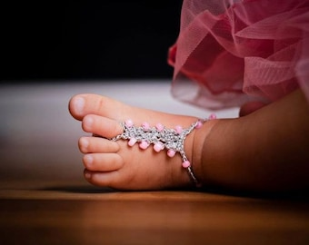 18 mo-3 yr Baby Barefoot Sandals Foot Jewelry YOU DESIGN THEM Photo Prop Anklet Toe Ring Soleless Thongs