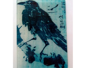 Crow, Raven, crow art, crow glass, cutting board, japanese art, bird glass, stained glass, glass trivet, crow gift