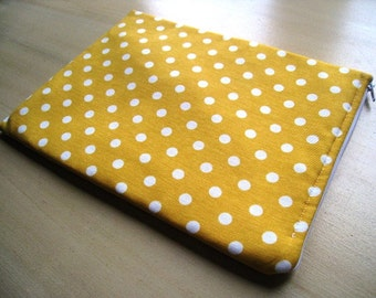 "Polka Dots on Yellow - for Macbook 13"" Air or Macbook 13 Inch Pro Laptop Sleeve,  Cover, Case, Bag Padded and Zipper Closure - Ready to Ship"