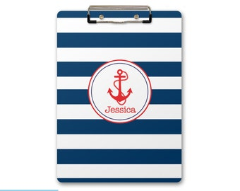 Personalized, Monogrammed Clipboard - Anchor, Nautical with Stripes