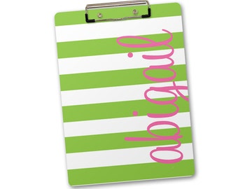 Personalized, Monogrammed Clipboard - chunky stripes with vertical name lime and pink