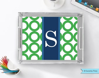 """Personalized Large Lucite Serving Tray - 11x17"""" - pick your colors and monogram"""