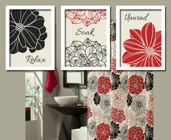 Black Red Flourish Bathroom Artwork Set of 3 Trio by trmDesign