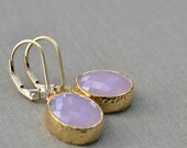 Pink Framed Glass Earrings, Gold Fill Lever Back, Pink Glass Stone, Bridesmaid Earrings