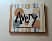 Custom HandPainted Personalized Circles and Stripes Canvas