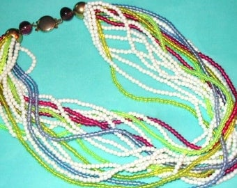 Vintage MOD Colorful Seed Bead Multi-Strand Necklace