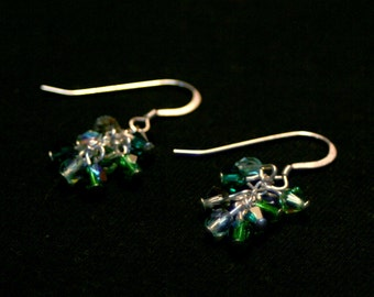 Green Swarovski Crystal and Czech Glass Cluster Earrings