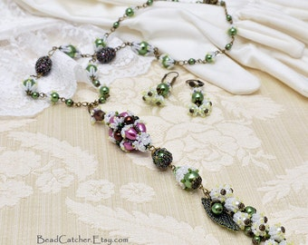 Lily of the valley a la Faberge jewelry set: long necklace and earrings