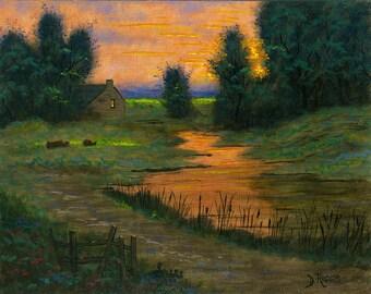 Sunset - 11x14 Acrylic Painting
