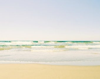 Beach Photography - Ocean Waves Print - Pastel Beach Art - Relaxing Wall Art - Minimal Beach Photograph 'Endless Beach'