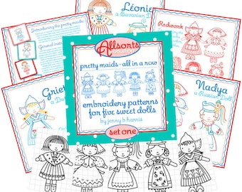 Set One - Embroidery Patterns for 5 International Dolls - Instant Download - digital patterns for hand embroidery