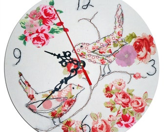Birds Clock / Girls Wall Clock / Nursery Clock / Nursery Decor / Fabric Clock