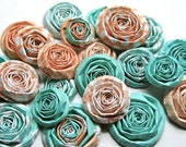 Teal Coral and Peach handmade paper flowers SET of 20 roses table decorations