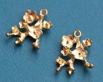 6 pcs of Gold  plated Cherry branch drop 24x17mm