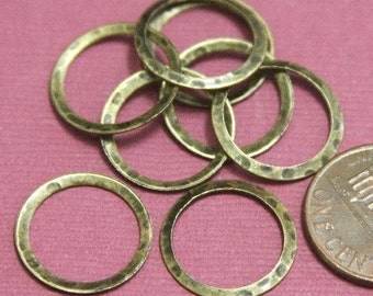 15 pcs of Antiqued Brass hammered circle link 16mm