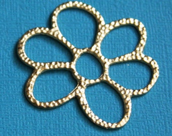 6 pcs of Gold plated  flower links 40x36mm