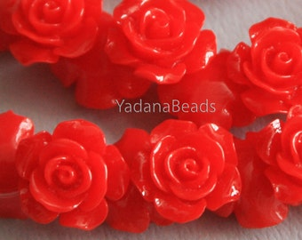 10 pcs of  Acrylic flower bead 14mm-  Red color