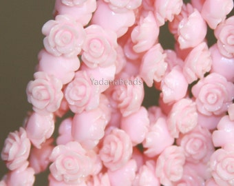 10 pcs of  Resin flower bead 10mm- light pink color