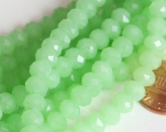 16 inch Strand of Green glass Faceted Rondelle beads 4x6mm