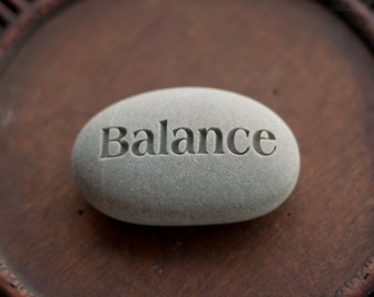 Balance - inspirtaional yoga gift - Ready to ship Gift - Engraved Inspirational Word on beach stone