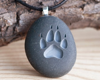 Wolf Paw print - Double sided engraved stone necklace -Tiny PebbleGlyph (C) necklace by sjEngraving