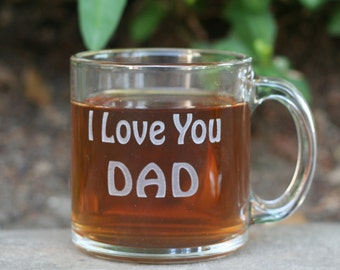Personalized engraved Glass Mug - with your own text by sjEngraving