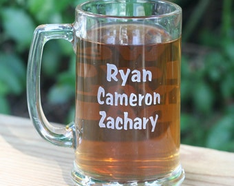 Personalized Grandfather, Father gift - double sided engraved beer mug by sjEngraving
