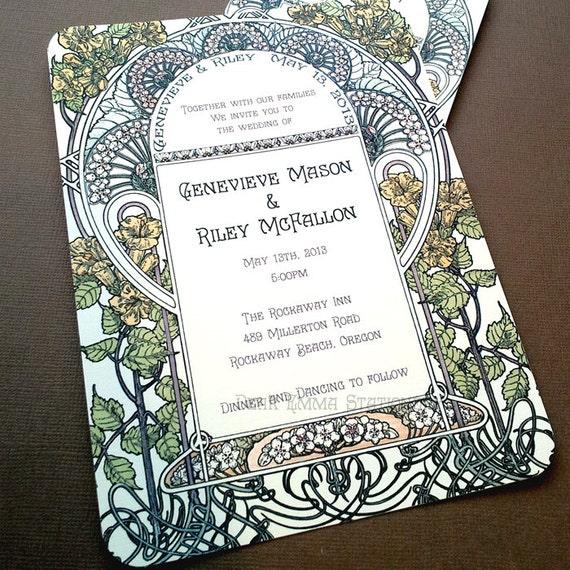 Art Deco Wedding Invitation: Gatsby Garden Wedding Invitations Art Nouveau Art By Dearemma