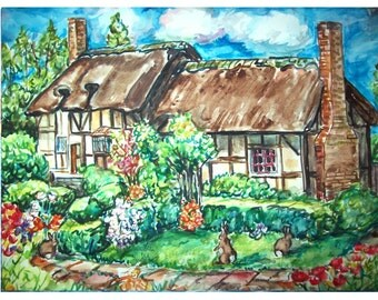 ENGLISH COTTAGE BUNNIEs- 11x15 original painting landscape watercolor OOAK, Garden, Bunny, Rabbit, Bunny Rabbit, Cottage, Flowers,Yard